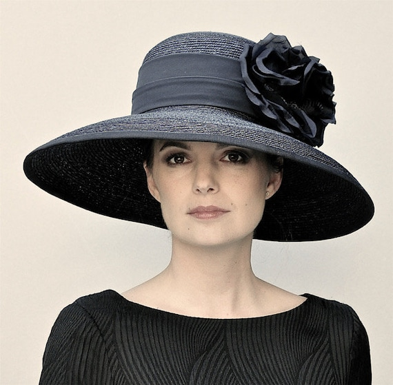 Ladies Black Hat, Kentucky Derby Hat, Black Wide Brim Hat, Downton Abbey Hat, Funeral Hat, Formal Hat, Audrey Hepburn hat, Occasion Hat