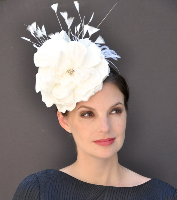 Wedding Hat, Fascinator Hat, Cream Ivory Fascinator, Derby Hat, Women's Formal Hat, Fascinator