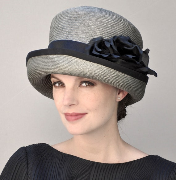 Downton Abbey Hat, Ladies Gray Hat, Miss Fisher Hat, Women's Formal Hat, Wedding Hat, Derby Hat, Dressy Hat, Occasion Hat