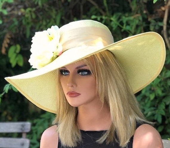 Wedding Hat, Kentucky Derby Hat, Garden Party Hat, Church Hat, Tea Party Hat, Wide Brim Hat, Formal Yellow Hat