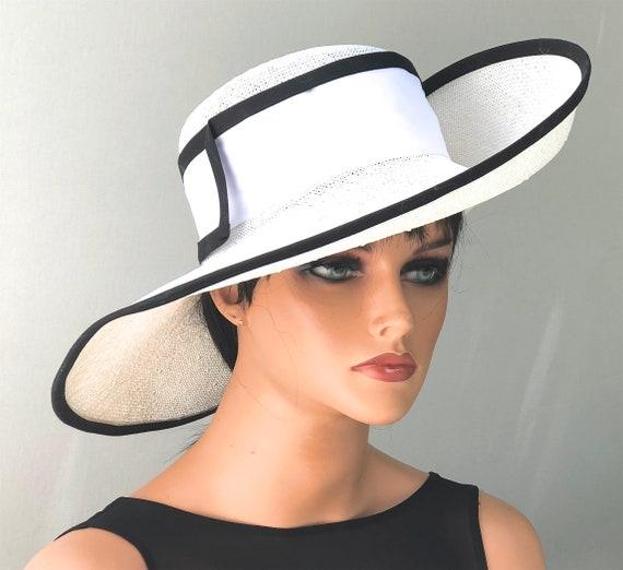 Wedding Hat, Kentucky Derby Hat, Church Hat, Ladies Derby Hat, Women's formal summer hat, Women's Black and White Hat