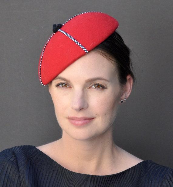 Red Fascinator, Fascinator, Formal Hat, Dressy Hat, Winter Fascinator, Ladies Red Hat