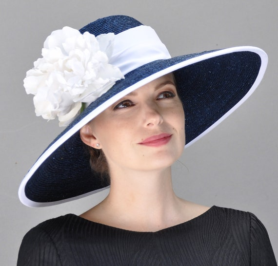 Wedding Hat, Kentucky Derby Hat, Ladies Navy and White Hat, Formal Hat. Ascot Hat,Audrey Hepburn Hat, Wide brim hat, occasion hat