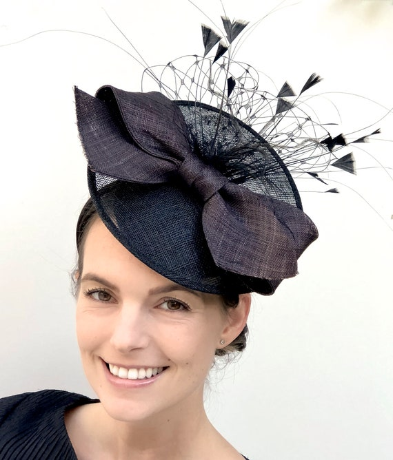 Women's Kentucky Derby Hat, Black Saucer Hat, Derby Headpiece, Royal Ascot Hat, Fascinator Hatinator