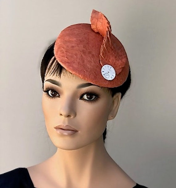 Leather Fascinator Hat, Pillbox Hat, Formal Orange Leather Hat,  Peach Hat Ladies Women's Coral Fascinator, Derby Hat