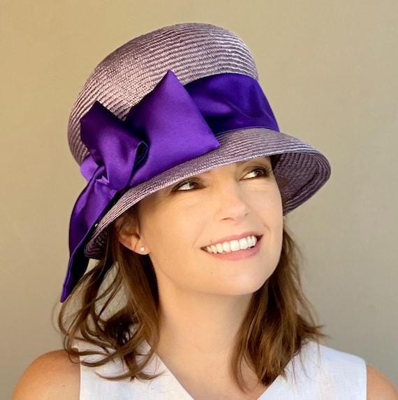 Women's Purple Hat, Cloche, Downton Abbey hat, 1920s 1930s hat, Wedding Hat, Miss Fisher Hat, Church Hat, Formal Hat, Tea Party Hat