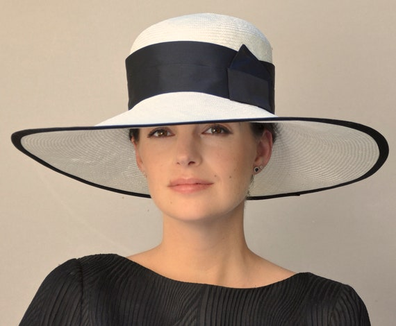 Ladies Black & White Hat, Wedding Hat, Kentucky Derby Hat, Royal Ascot Hat, Wide Brim Hat, Formal Hat, Church Hat
