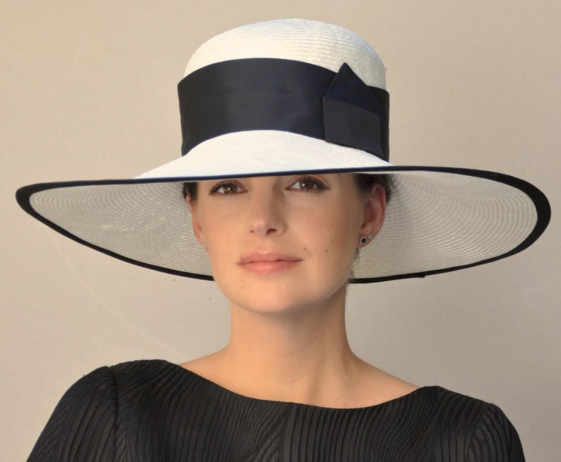 f90153c3698be Ladies Black   White Hat Wedding Hat Royal Ascot Hat Wide