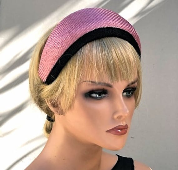 Women's Fascinator Hat, Amanda Gorman hat, Pink Formal Hat, Kate Middleton Hat, Headband Hat, Crown Halo Headpiece, Royal Ascot Hat