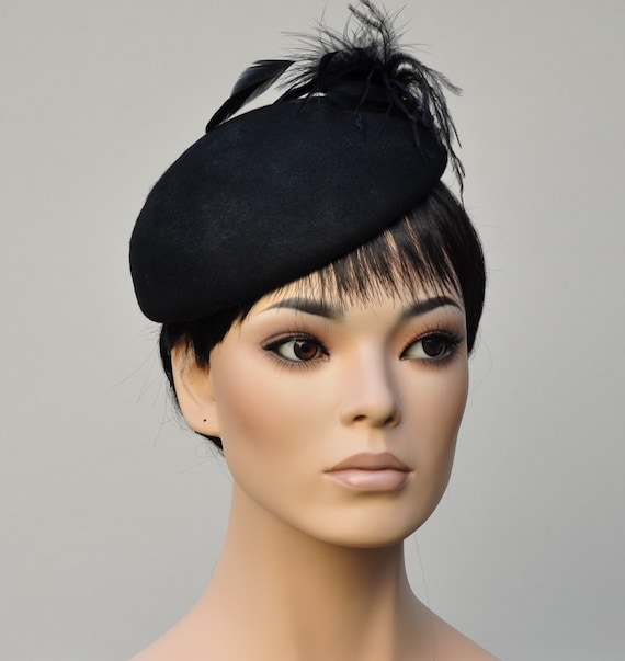 Black Hat, Winter Wedding Hat, Derby Hat, Cocktail Hat, Fascinator, Funeral Hat, Formal Winter Hat, Church Hat