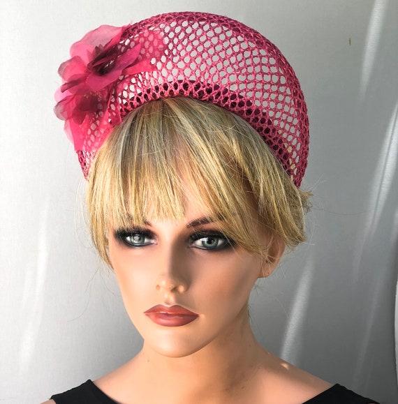 Crown Halo Hat, Pink Flower Crown, Ladies Pink Hat, Women's Fascinator Hat Pink Fuchsia Hat Wedding Hat Duchess Kate Hat