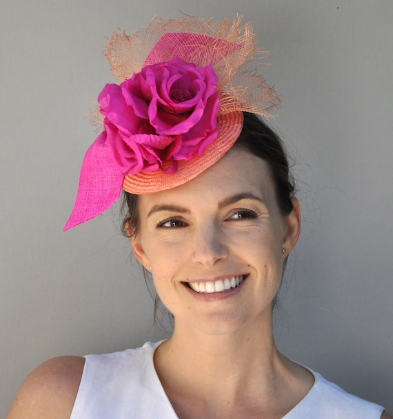 Kentucky Derby Hat, Royal Ascot Hat, Wedding Hat, Special Occasion Hat, Race Hat, Women's Pink Orange Fascinator, Formal Hat, Dressy Hat