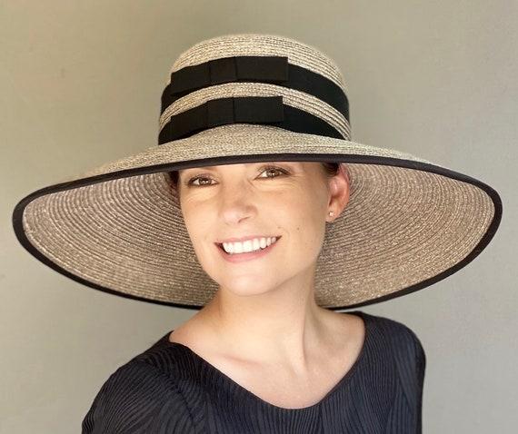 Kentucky Derby Hat, Wedding Hat, Ladies Formal Hat, Wide Brim Hat, Audrey Hepburn Hat, Church Hat, Royal Ascot Hat, Women's Taupe Hat,
