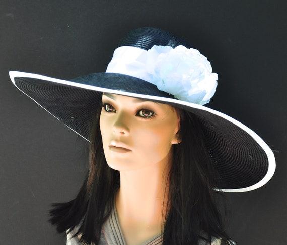 Kentucky Derby Hat, Black and White hat, Occasion Hat, Formal Black Hat, black wide brim hat