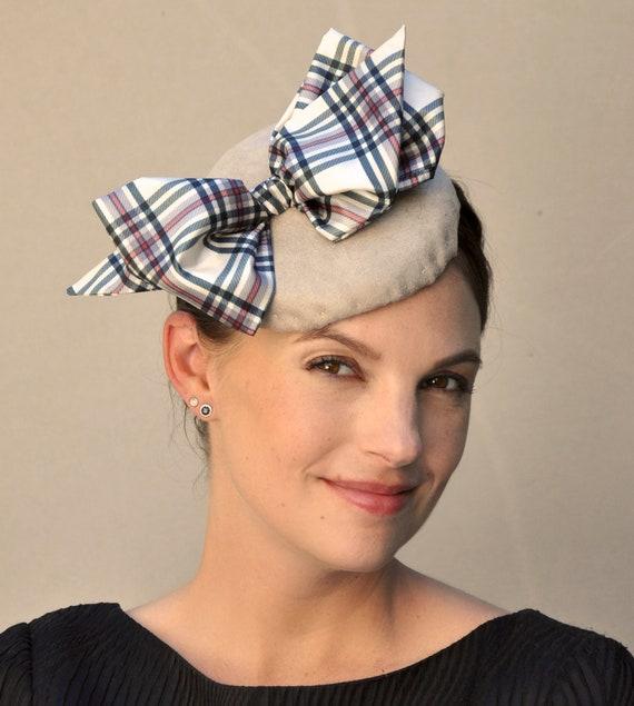 Winter Fascinator, Fascinator Hat, Scottish Plaid Fascinator, Tartan Hat, Leather Fascinator, Pillbox Hat, Percher, Wedding Hat, Formal Hat