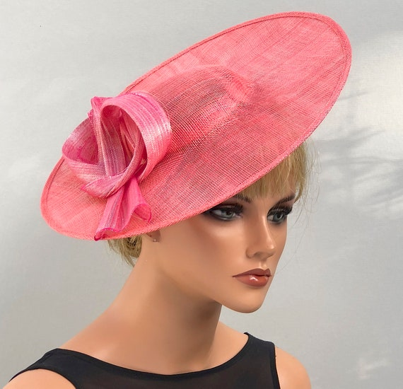 Kentucky Derby Hat, Wedding Hat, Women's Coral Wide Brim Hat, Ladies Coral Orange & Pink Hat, Saucer Hat, Royal Ascot Hat, Duchess Kate Hat
