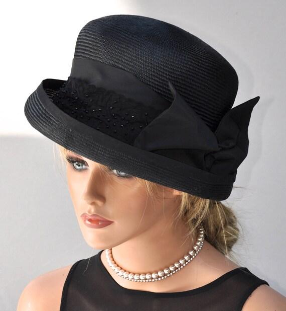 Ladies Black Hat, Formal Black Hat, Dressy Hat, Funeral Hat, Elegant Hat, Wedding Hat, Church Hat, Cocktail Hat, Sophisticated Hat