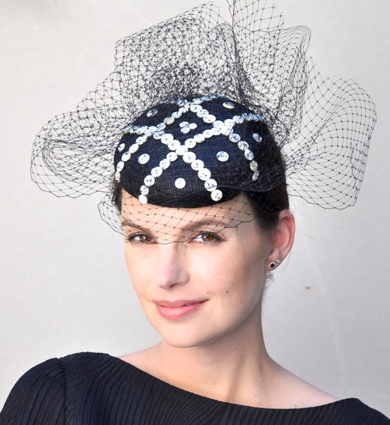 Black And White Fascinator, Percher Hat, Fascinator Hat, Pearly Kings and Queens, Race hat, formal hat, occasion hat