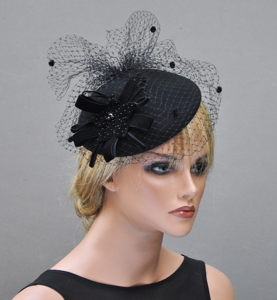 Black Fascinator, Ladies Black Hat, Fascinator Cocktail Hat, Formal Black Hat, Funeral Hat, Church hat, Winter Fascinator, Elegant Black Hat
