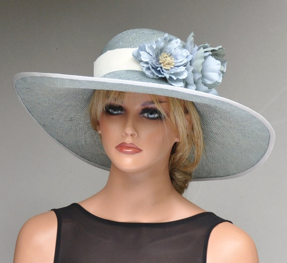 Derby Hat, Wedding Hat, Ascot Hat, Formal Hat Aqua Blue Hat, Ladies Blue Hat, Women's Blue Hat, Wide Brim Hat