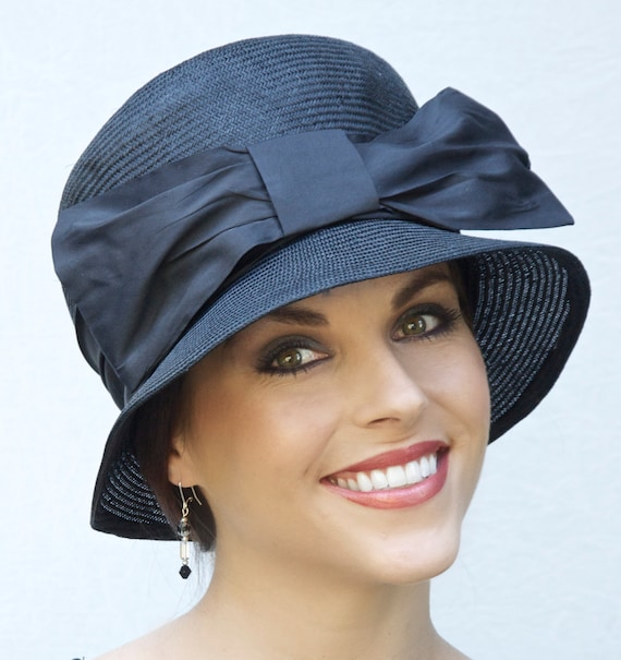 Formal Black Hat, Downton Abbey Hat, Women's Black Hat, Ladies Black Hat, Cloche, Church Hat, Dressy Hat, funeral hat, Occasion Hat,
