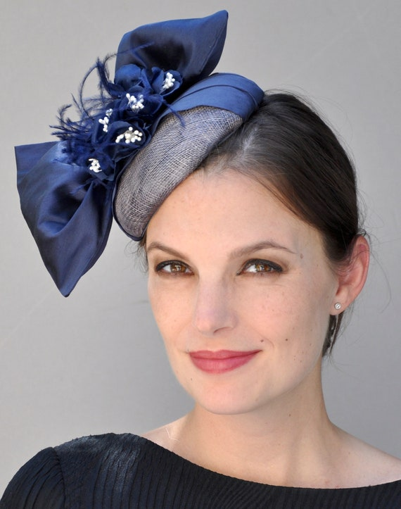 Wedding Fascinator Hat, Navy Fascinator, Derby Fascinator Hat, Derby Hat, Formal Hat. Occasion Hat