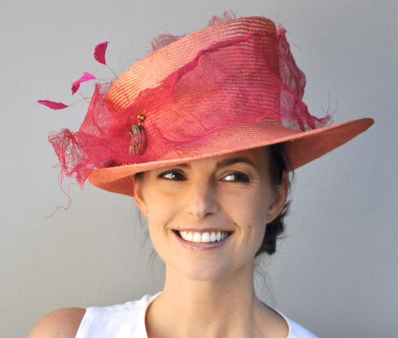 Kentucky Derby Hat, Royal Ascot Hat, Fuchsia Pink and Orange Hat, Mad Hatter Boater, Special Occasion Hat, Women's Unique Hat, Whimsical Hat