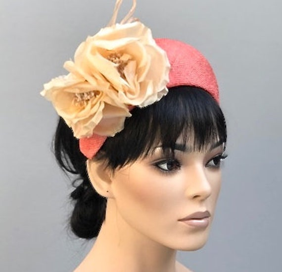 Women's Fascinator Hat, Kate Middleton Hat, Flower Crown, Headband Hat, Crown Halo Headpiece, Ladies Coral Cocktail Hat Formal Hat Ascot Hat
