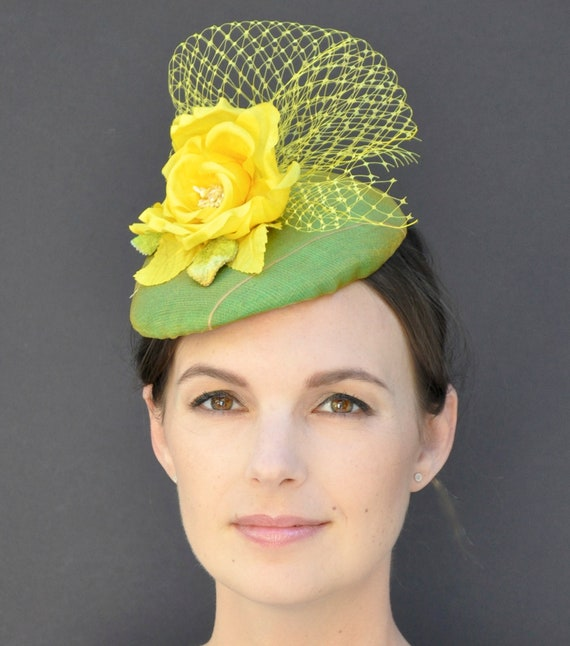 Fascinator Hat, Formal Hat, Green & Yellow Silk Fascinator, Wedding Hat, Pillbox Hat, Percher Hat, Special Occasion Hat, Dressy Hat