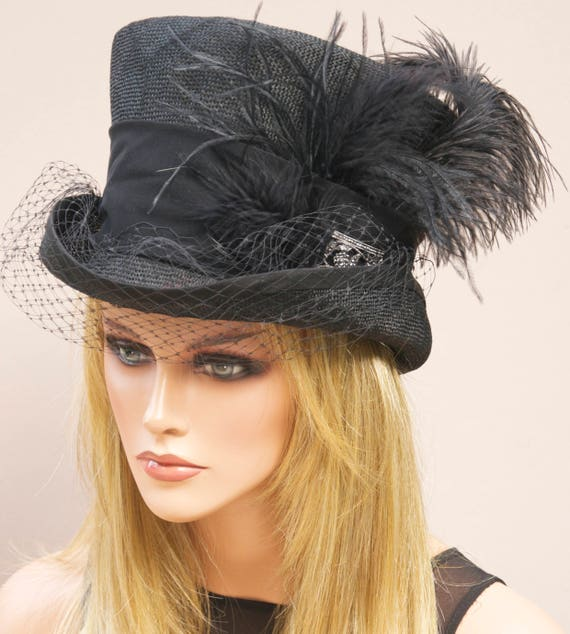 Derby Hat, Ladies Black Hat, Royal Ascot Hat, Women's Black Top Hat, Mad Hatter, Black Hat with Veil, Formal Hat, Victorian Hat
