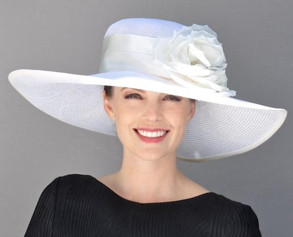 Wedding Hat, Kentucky Derby Hat, Ladies White Hat, Wide Brim Hat, Women's Derby Hat, Formal Hat, Occasion hat