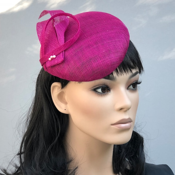 Women's Fascinator Hat, Formal Fuchsia Hat, Kate Middleton Hat, Special Occasion Hat, Ladies Fuchsia Cocktail Hat
