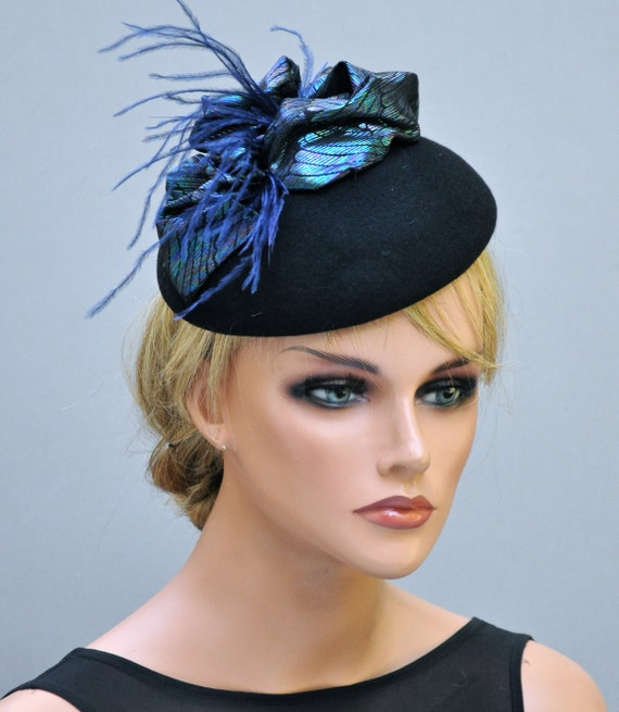Blue Green Fascinator Hat, Church Hat, Wedding Hat, Formal hat, Dressy Hat, Peacock Hat, Derby Hat, Occasion Hat
