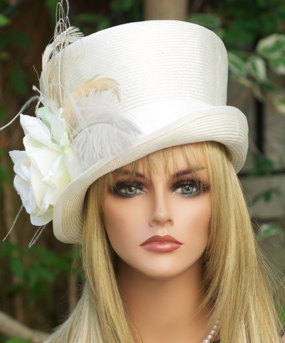Ladies Top Hat, Kentucky Derby Hat, Women's Cream Ivory Hat, Victorian Wedding Hat, Victorian Riding Hat, Formal Hat, Mad hatter