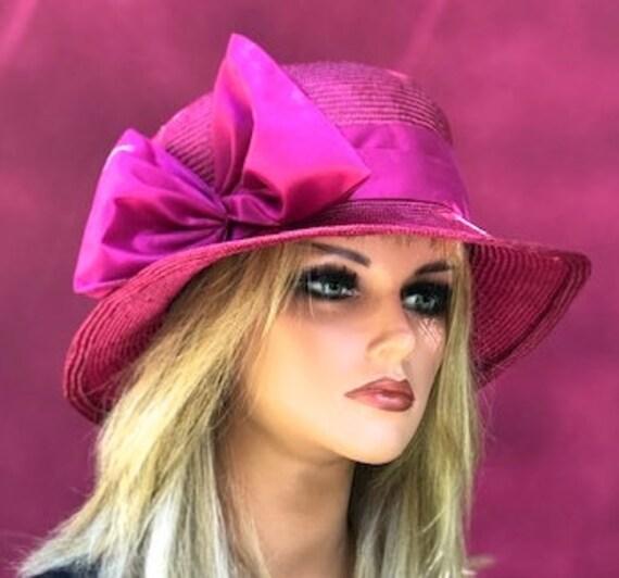 Kentucky Derby Hat, Wedding Hat, Women's Cloche, Women's Fuchsia Hat, Royal Ascot Hat, Miss Fisher Hat, Formal Hat, Downton Abbey Hat