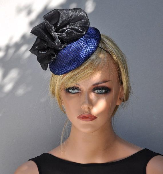 Kentucky Derby Hat, Blue Formal Hat, Blue Fascinator, Formal Blue Black Hat, Dressy Hat, Ladies Blue Hat, Cocktail Hat