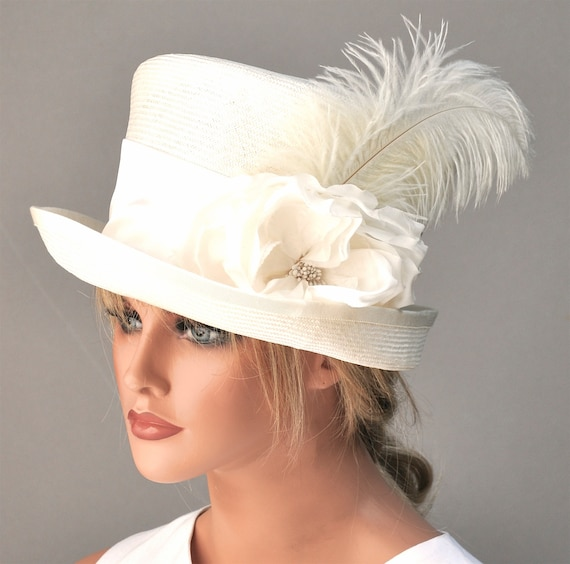 Kentucky Derby Hat, Ivory Wedding Hat, Bridal Hat Headpiece, Women's White Hat, Ladies Top Hat, Mad Hatter, Downton Abbey Hat, Occasion Hat