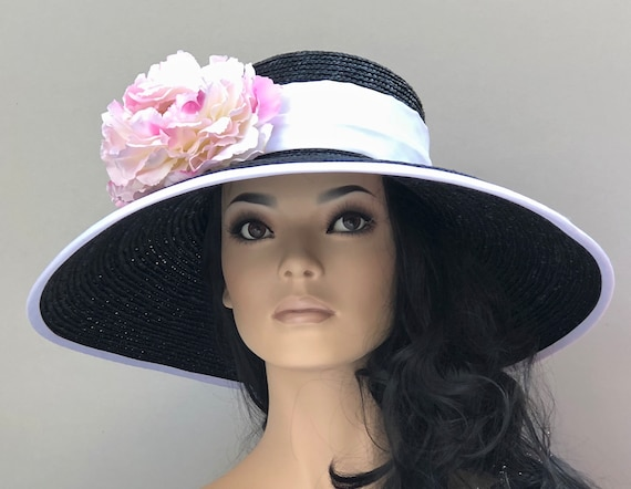 Kentucky Derby Hat, Wedding Hat, Church Hat, Wide Brim Hat, Special Occasion Hat, Black white pink hat, Audrey Hepburn Hat