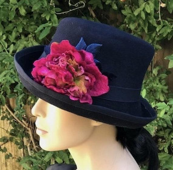 Ladies Navy Hat, Formal Winter Hat, Women's Navy Wool Felt Hat, Navy Top Hat, Ladies Formal Winter Top Hat