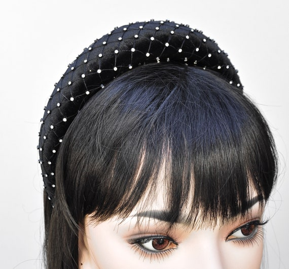 Crown Hat, Halo Crown, Black Velvet Rhinestone Hat, Kate Middleton Hat, Women's Formal Black Fascinator Hat, Ladies Dressy Hat, Headband Hat