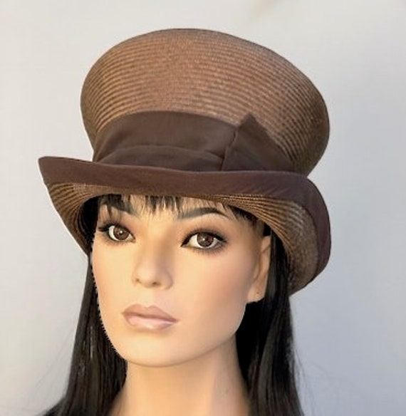 Women's Brown Top Hat, Ladies Brown Hat, Mad Hatter, Wedding Hat, Derby Hat, Tea Party Hat, Garden Party Hat, Royal Ascot Hat, Formal Hat