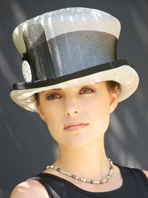 Derby Hat, Gray & Black Hat. Royal Ascot Hat, Top Hat, Mad Hatter. Wedding Hat, Church Hat, Victorian Riding Hat, Downton Abbey Hat
