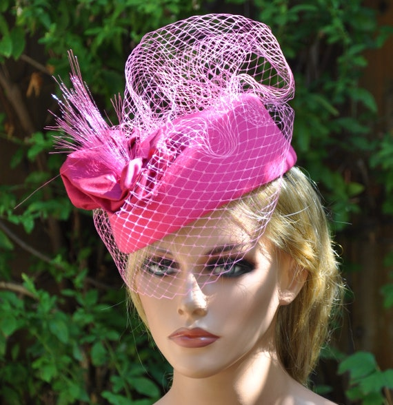 Ladies Formal Pink Hat, Ladies Pink Winter Hat, Wedding Hat, Church Hat, Formal Hat, Dressy Hat, Derby Hat, Occasion Hat