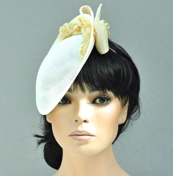 Kentucky Derby Hat, Ladies Cream Formal Hat, Wedding Hat, Kate Middleton Hat, Women's Saucer Hat, Duchess Hat, Royal Ascot Hat, Occasion Hat