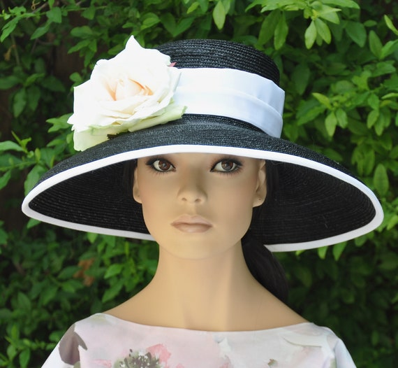 Kentucky Derby Hat, Wedding hat, Church hat, formal hat, Garden Party Hat, Audrey Hepburn Hat, Wide Brim Hat,