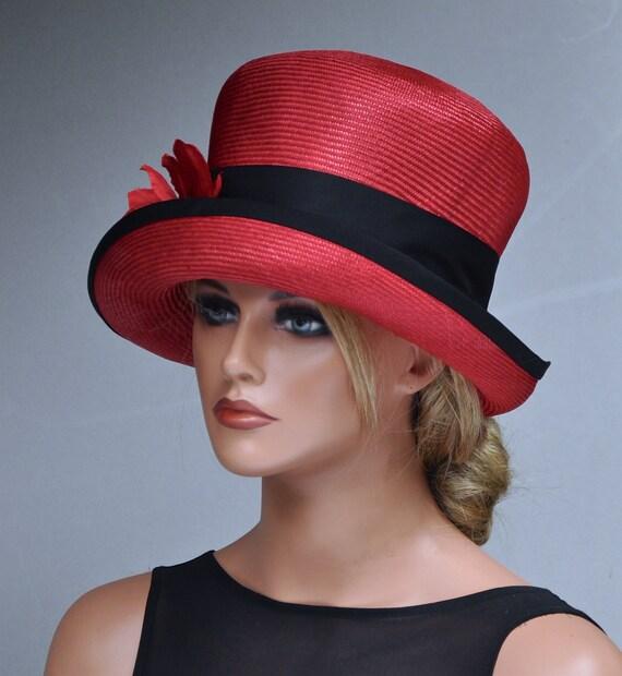 Wedding Hat, Ladies Red Hat, Formal  red hat, Dressy hat, Derby Hat, Ascot Hat, Occasion Hat