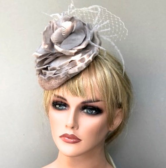 Women's Fascinator Hat, Taupe Gray Fascinator, Wedding Hat, Duchess Hat, Meghan Markle Hat
