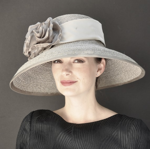 Wedding hat, Kentucky Derby Hat, Ladies Formal Hat, Women's Gray Taupe Hat, Audrey Hepburn Hat, Downton Abbey Hat, Church Hat, Dressy Hat