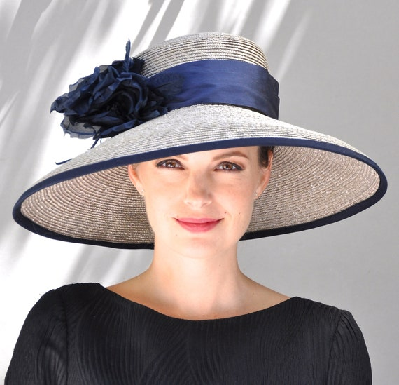 Derby Hat, Wedding Hat, Navy Wide Brim Hat, Ascot Hat, Formal Hat