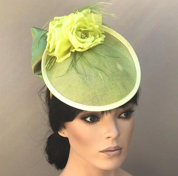 Kentucky Derby Hat, Royal Ascot Hat, Women's Lime Green Hat, Ladies Formal Hat, Kate Middleton Hat, Duchess hat, Women's Fascinator Hat